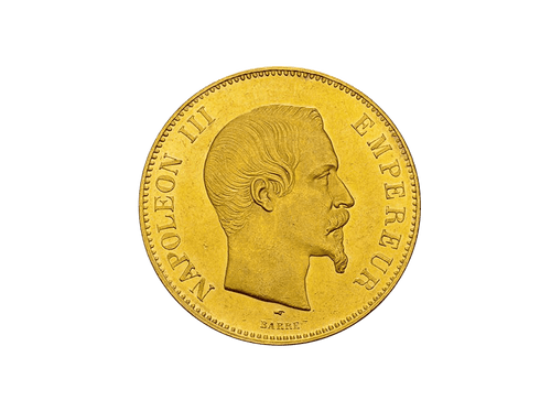 Buy original gold coins France 100 Francs Napoleon III. with Bitcoin!