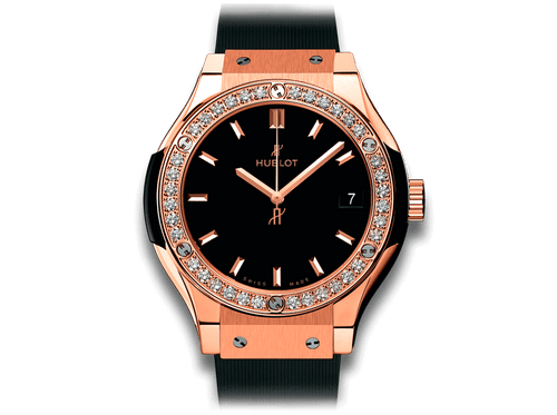 Buy original Hublot Classic Fusion King Gold Diamonds 581.OX.1181.RX.1104 with Bitcoins!