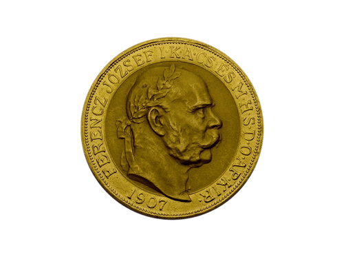 Buy original gold coins Hungary 100 Corona 1907 Coronation Anniversary Franz Joseph I. with Bitcoin!