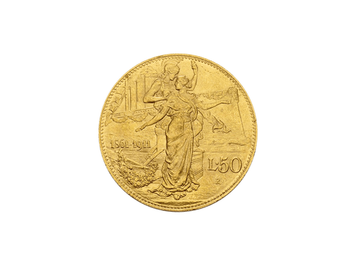 Buy original gold coins Italy 50 lire Viktor Emanuele III. 50 years kingdom 1911 with Bitcoin!