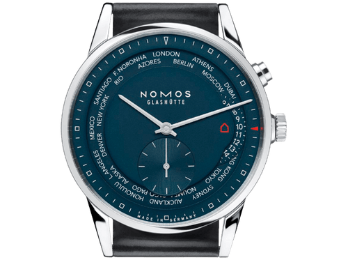 Buy original Nomos Glashuette ZURICH WORLD TIME MIDNIGHT BLUE 807 with bitcoins!