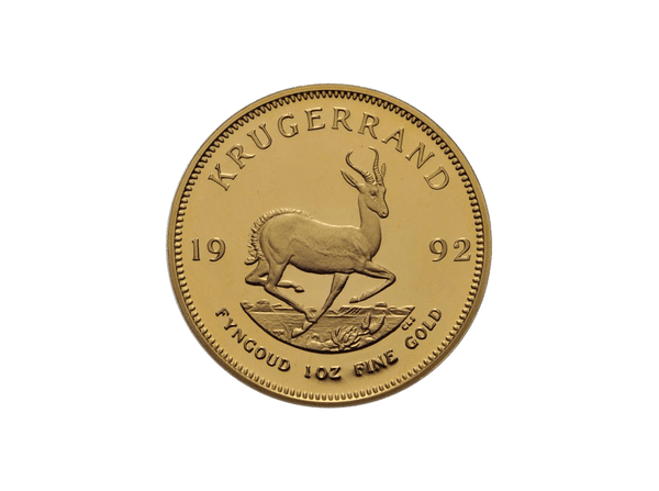 Buy original gold coins South Africa 1 oz Krugerrand 1992 with Bitcoin!