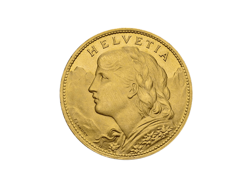 Buy original gold coins Switzerland 100 francs 1925 Vreneli Gold with Bitcoin!