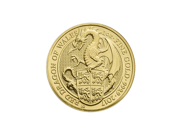 Buy original gold coins United Kingdom 1 oz Queen's Beasts 2017 Dragon Gold Coin with Bitcoin!