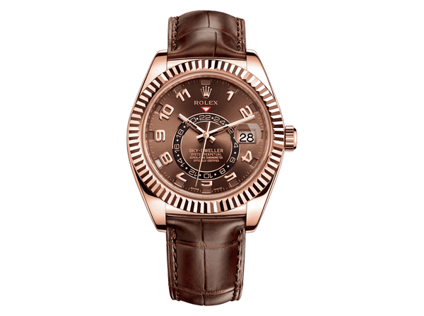 By original Rolex Sky-Dweller 326135 choco with Bitcoin at BitDials™