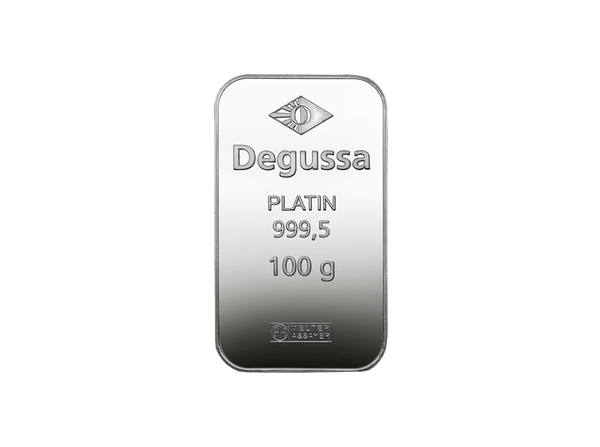 BitDials | Buy original Degussa Platinum Bar (minted) 100 g with Bitcoins!