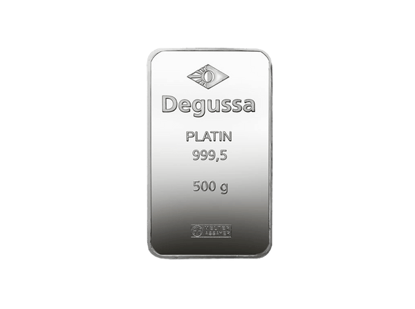 BitDials | Buy original Degussa Platinum Bar (minted) 500 g with Bitcoins!