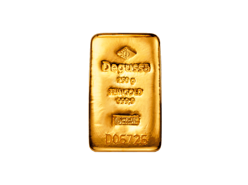 BitDials | Buy original Degussa Gold Bar (casted) 250 g with Bitcoins!