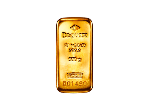BitDials | Buy original Degussa Gold Bar (casted) 500 g with Bitcoins!