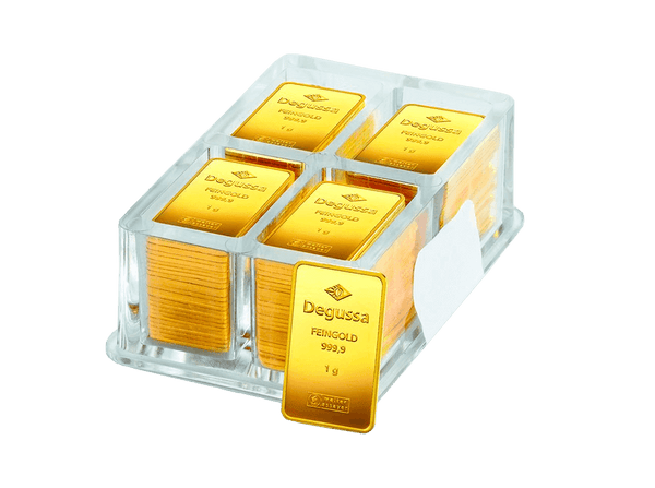 BitDials | Buy original Degussa Gold Bar (minted) 100 x 1 gram single barswith Bitcoins!