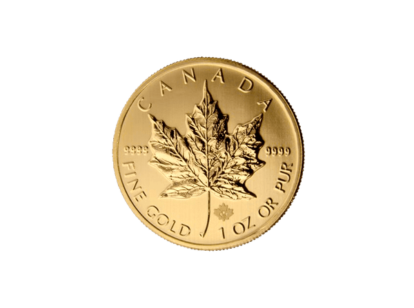 Buy original gold coins 1 oz Gold Maple Leaf with Bitcoin!
