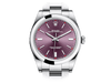 Buy original Rolex 114300 Oyster Perpetual 39mm red grape with Bitcoin!