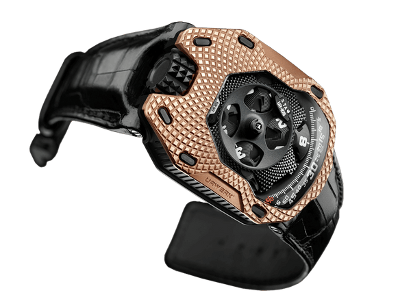 Buy original Urwerk Clockwork Orange  UR-105 TA Raging Gold with Bitcoins!