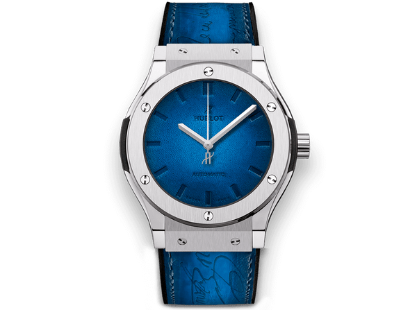 Buy original Hublot CLASSIC FUSION BERLUTI BLUE 511.NX.050B.VR.BER16 with Bitcoins!