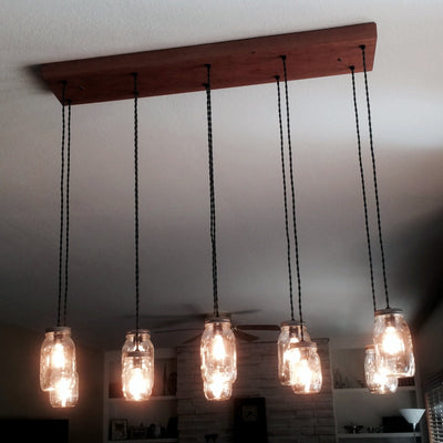 10 Light Mason Jar Chandelier - Vintage Electric Supply