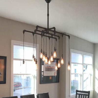 14 Light Industrial Steel Chandelier - Vintage Electric Supply