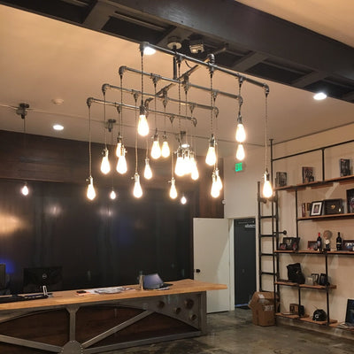 20 Light Industrial Steel Chandelier - Square - Vintage Electric Supply