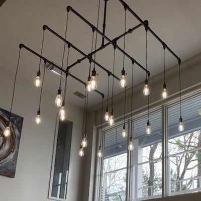 "20 Light XL Industrial Steel Chandelier - 56"" x 56"" Square - Vintage Electric Supply"