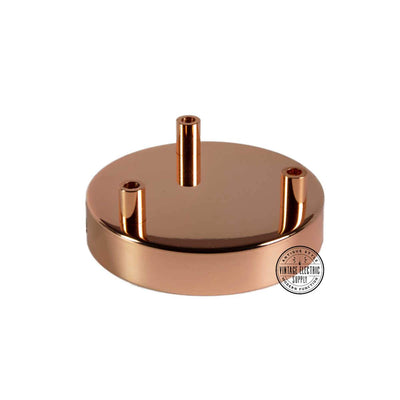 3 Hole Deluxe Canopy - Polished Copper - Vintage Electric Supply