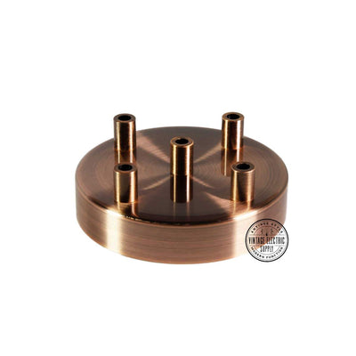 5 Hole Deluxe Canopy - Aged Copper - Vintage Electric Supply