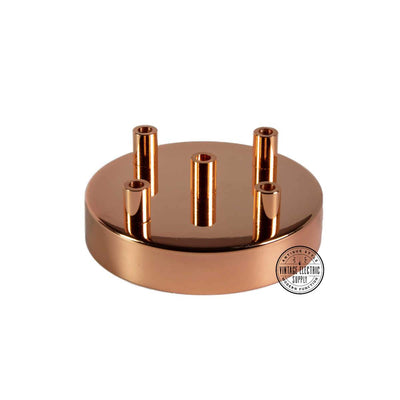 5 Hole Deluxe Canopy - Polished Copper - Vintage Electric Supply