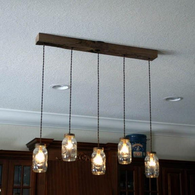 5 Light Mason Jar Chandelier - Vintage Electric Supply