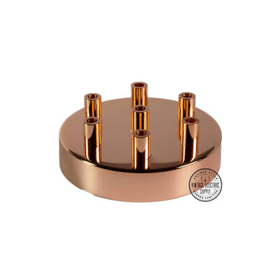 7 Hole Deluxe Canopy - Polished Copper - Vintage Electric Supply