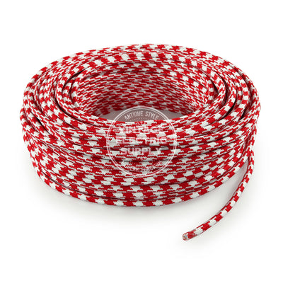 Red Houndstooth Electric Cable  - Vintage Electric Supply