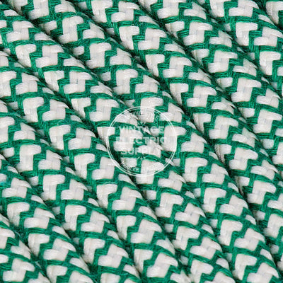 Ivory & Emerald Cross Stitch Raw Yarn Electric Cable - Vintage Electric Supply