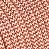 Orange & White Zigzag Rayon Electric Cable  - Vintage Electric Supply