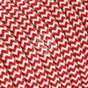 Red & White Zigzag Rayon Electric Cable  - Vintage Electric Supply