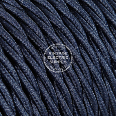 Navy Rayon Twisted Electric Cable  - Vintage Electric Supply
