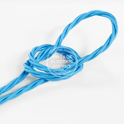 Turquoise Rayon Twisted Electric Cable  - Vintage Electric Supply