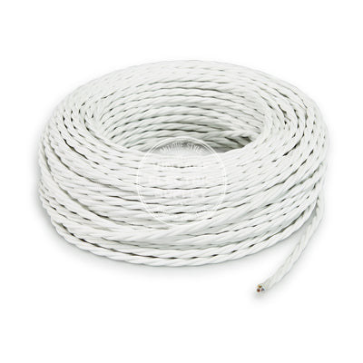 White Rayon Twisted Electric Cable  - Vintage Electric Supply