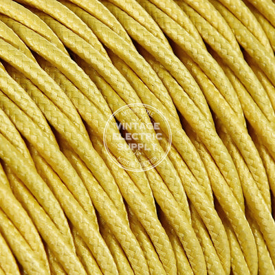 Yellow Rayon Twisted Electric Cable  - Vintage Electric Supply