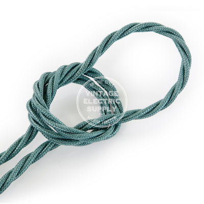 Sage Raw Yarn Twisted Electric Cable  - Vintage Electric Supply