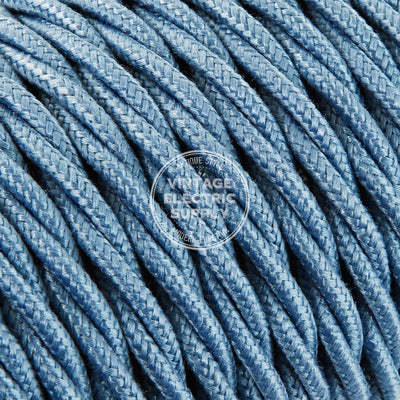 Sky Raw Yarn Twisted Electric Cable  - Vintage Electric Supply