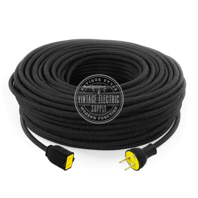 Black Cotton Extension Cord - Vintage Electric Supply