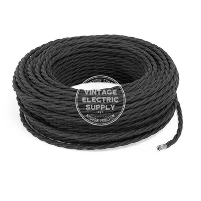 Black Cotton Twisted Electric Cable - Vintage Electric Supply