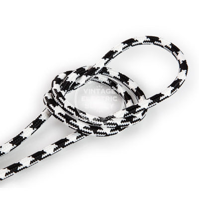 Black Houndstooth Rayon Electric Cable  - Vintage Electric Supply
