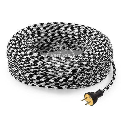 Black Houndstooth Rayon Re-Wire Kit - Vintage Electric Supply