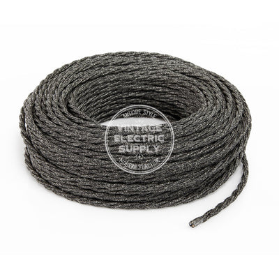 Black Linen Twisted Electric Cable  - Vintage Electric Supply