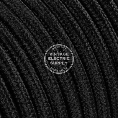 Black Rayon Electric Cable  - Vintage Electric Supply
