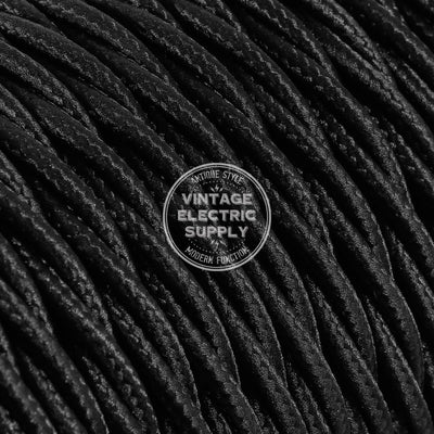 Black Rayon Twisted Electric Cable  - Vintage Electric Supply