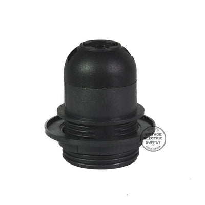 Black Thermoplastic Socket with Screw Ring - Vintage Electric Supply
