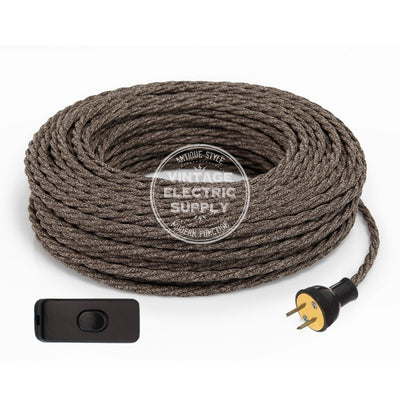 Brown Linen Twisted Re-Wire Kit with Switch - Vintage Electric Supply