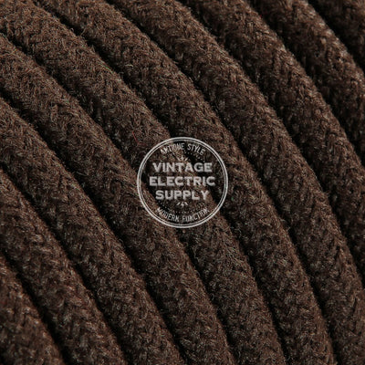 Brown Raw Yarn Electric Cable  - Vintage Electric Supply
