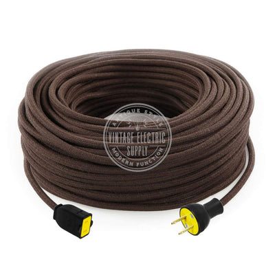 Brown Raw Yarn Extension Cord - Vintage Electric Supply