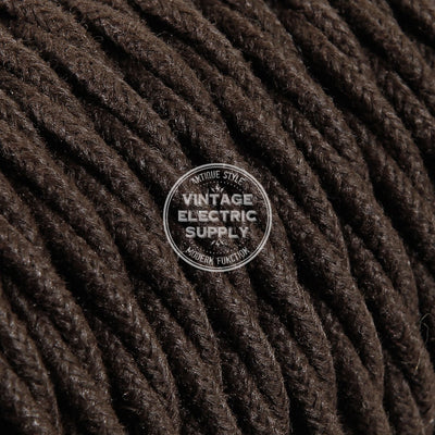 Brown Raw Yarn Twisted Electric Cable  - Vintage Electric Supply