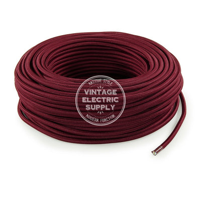 Burgundy Rayon Electric Cable  - Vintage Electric Supply